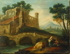 Fluvial Landscape with Bystanders - Italian School of Venice - 18th century