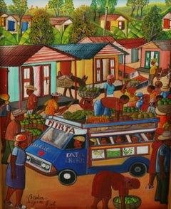 Folk Art Caribbean Market Landscape Oil Painting By Leogane
