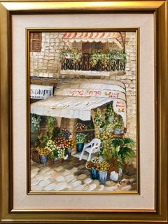 Folk Art Flower Shop, Kikar Zion, Jerusalem Israeli Naive Oil Painting