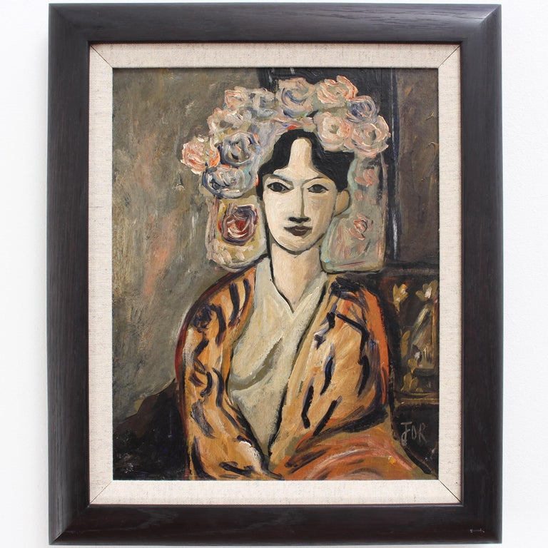 F.O.R., 'Flowered Woman in Robe', Midcentury Oil Portrait Painting, Berlin For Sale 1