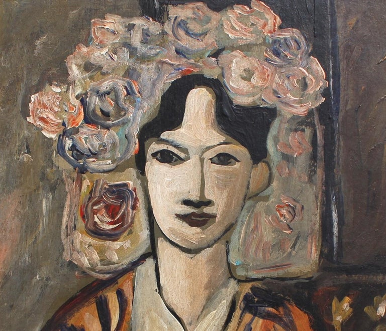 F.O.R., 'Flowered Woman in Robe', Midcentury Oil Portrait Painting, Berlin For Sale 3