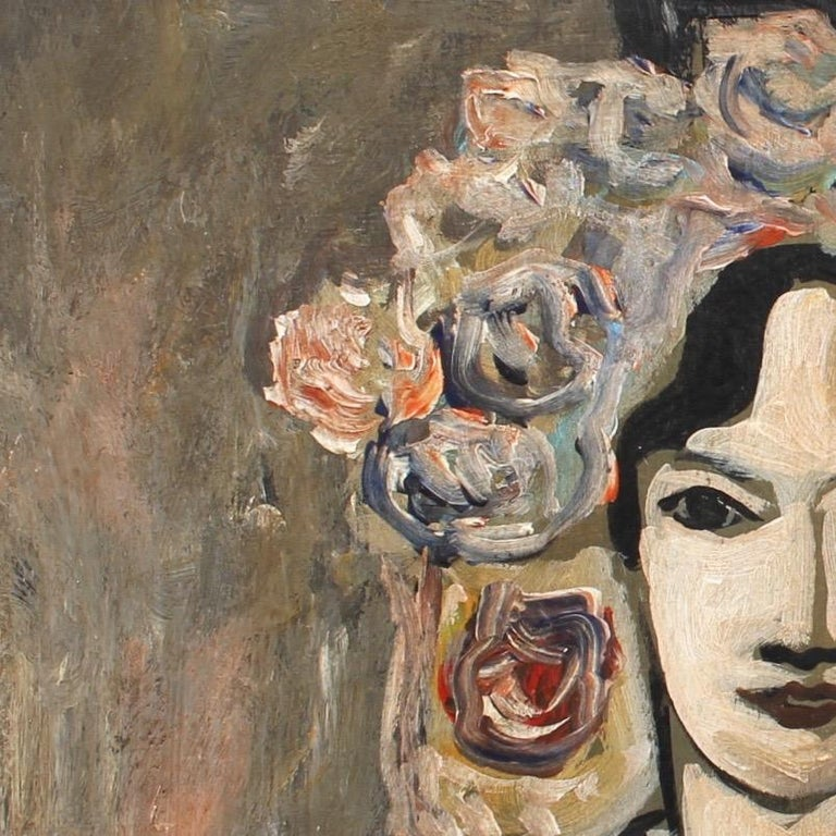 F.O.R., 'Flowered Woman in Robe', Midcentury Oil Portrait Painting, Berlin For Sale 4