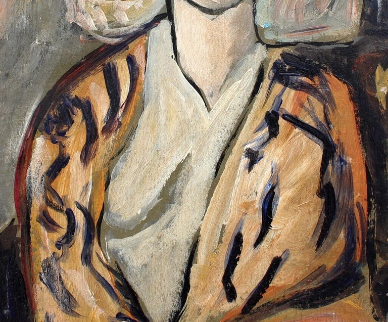 F.O.R., 'Flowered Woman in Robe', Midcentury Oil Portrait Painting, Berlin For Sale 5