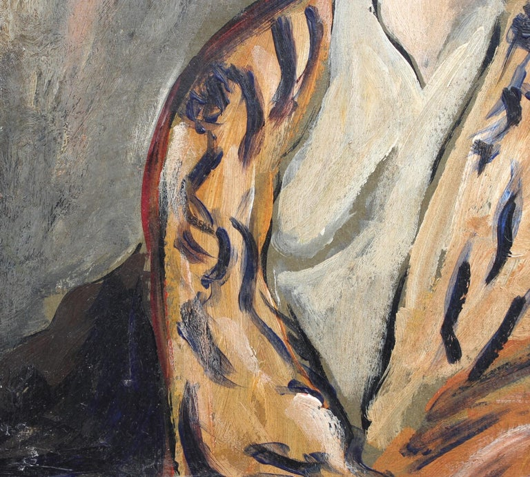 F.O.R., 'Flowered Woman in Robe', Midcentury Oil Portrait Painting, Berlin For Sale 6