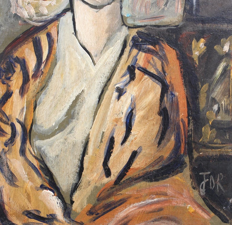 F.O.R., 'Flowered Woman in Robe', Midcentury Oil Portrait Painting, Berlin For Sale 7