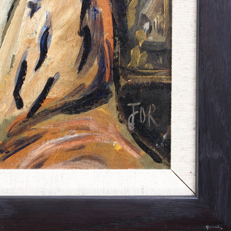 F.O.R., 'Flowered Woman in Robe', Midcentury Oil Portrait Painting, Berlin For Sale 8