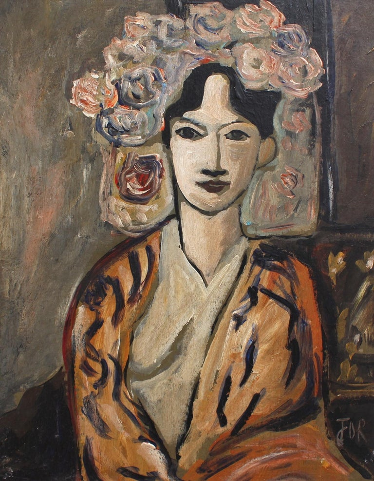 'Flowered Woman in Robe', oil on board, by unknown artist with initials F.O.R. (circa 1940s - 1960s). This is a portrait of a seated woman in a suggestively open robe but staring demurely back at the viewer. Since the artist remains unknown and no