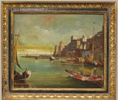 "Foreign Harbor Scene with Nice Decorative Signed ""Perry"""