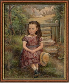 Framed 1875 Oil - Portrait of a Girl on a Country Walk