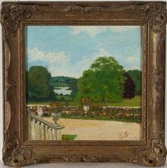 Framed 1900 Oil - Garden Views