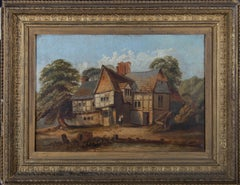 Framed 19th Century Oil - Tudor Cottage in the Countryside