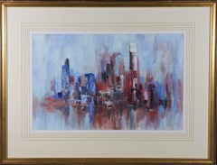 Framed 2002 Acrylic - Abstract Composition in Blue & Red