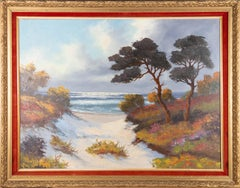 Framed 20th Century Oil - Towards the Beach