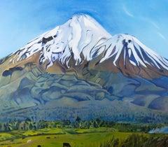 Framed Contemporary Oil - Alpine Mountain