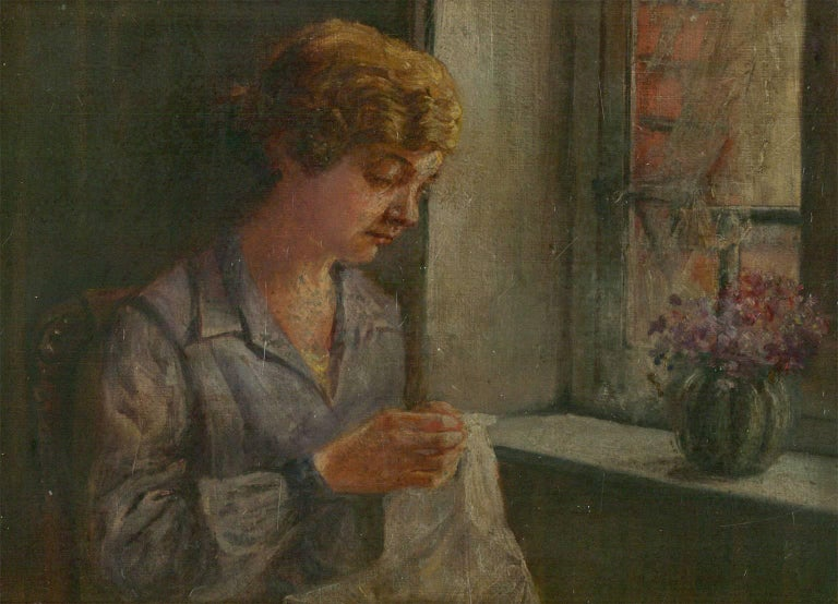 Framed Early 20th Century English Oil - Portrait of a Lady seated by a Window - Painting by Unknown