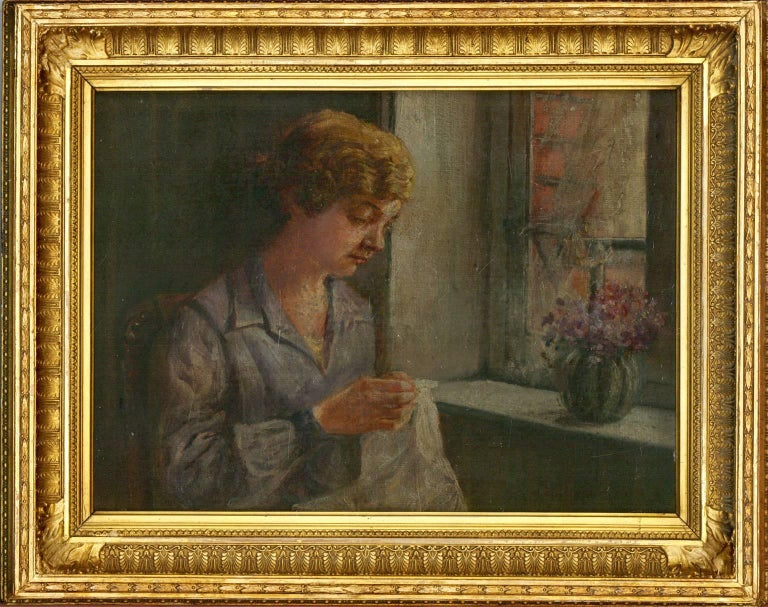 Unknown Portrait Painting - Framed Early 20th Century English Oil - Portrait of a Lady seated by a Window