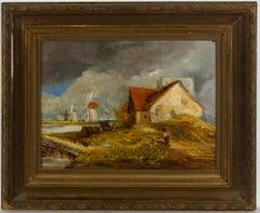 Framed Early 20th Century Oil - Windmills, Coastal Landscape