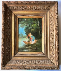Framed French Oil On Wood Painting, Pastoral Scene Of A Couple Along A River