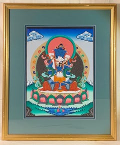 Framed Hand Painted Buddha Shakti Thangka on Canvas with 24K Gold