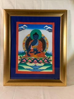 Framed Hand Painted Medicine Buddha Thangka with 24K Gold on Canvas