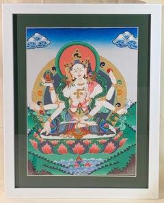 Framed Hand Painted Vajra Shakti Thangka on Canvas with 24 Karat Real Gold