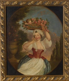 Framed Late 19th Century Oil - A Young Woman with Roses