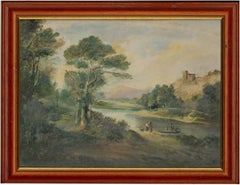 Framed Mid 19th Century Oil - Rural Landscape with Figures