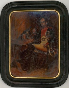 Framed Mid 19th Century Oil - Smoking Soldier