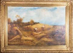 Framed Mid 20th Century Oil - Late Summer Harvest