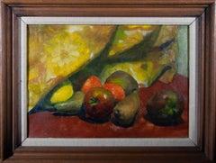 Framed Mid 20th Century Oil - Still Life of Fruit Beneath a Curtain