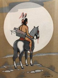 Fred Beaver Tempera Indian Warrior On Horseback