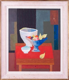 French, 1958 original oil still life painting of fruit bowl