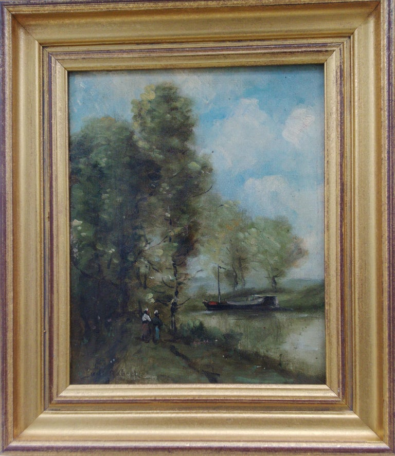 French Barbizon Landscape, Attributed to Paul Robert, Swiss 19th c. - Gray Landscape Painting by Unknown