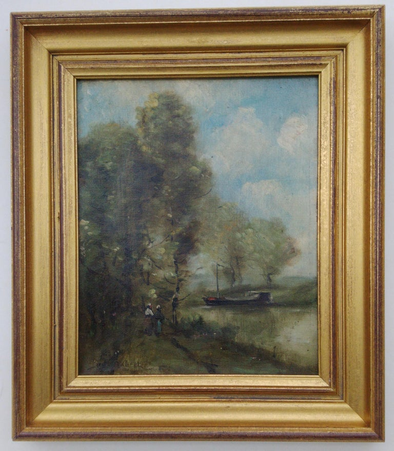 A gorgeous 19th century landscape that very much resembles the work of the important Barbizon artist Paul Déziré Trouillebert. The painting is however signed P...l Robert, and I believe it may be a work by the equally great Swiss artist Paul Robert