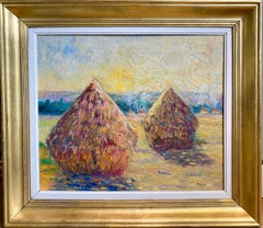 French 19th century Impressionist landscape painting of a Hay Harvest Monet