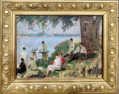 French 19th century impressionist painting - Bords de la Seine - Group Manet