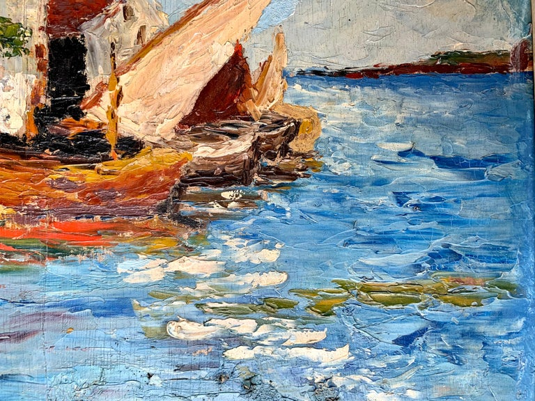 French 19th century impressionist painting Mediterranean Harbour - Cote d'Azur - Impressionist Painting by Unknown
