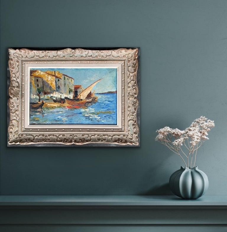 French 19th century impressionist painting Mediterranean Harbour - Cote d'Azur 1