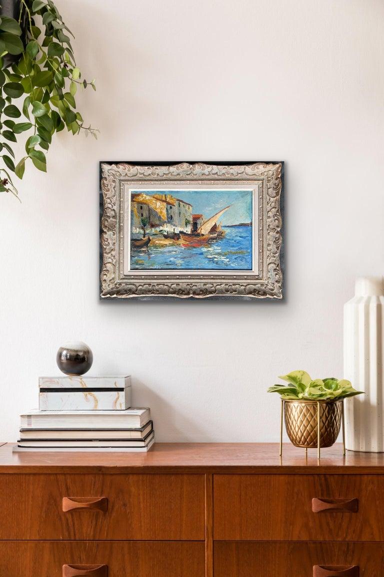 French 19th century impressionist painting Mediterranean Harbour - Cote d'Azur 2