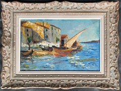 French 19th century impressionist painting Mediterranean Harbour - Cote d'Azur