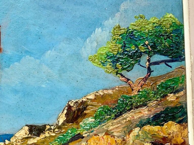 French 19th century impressionist painting Mediterranean Seaside - Cote d'Azur - Gray Figurative Painting by Unknown