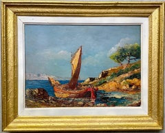 French 19th century impressionist painting Mediterranean Seaside - Cote d'Azur