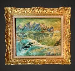19th century painting - Mountainous lake Mountains Glacier