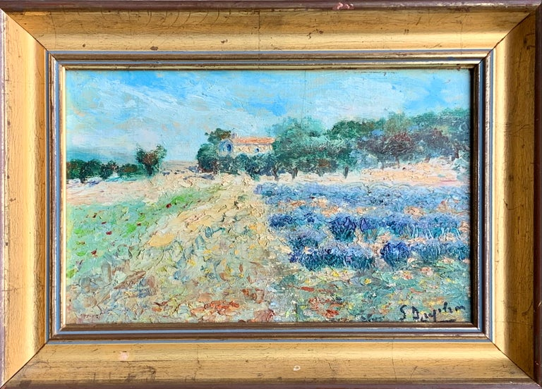 Unknown Figurative Painting - French 19th century Impressionist painting of a Provence landscape - Countryside