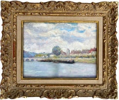 French 19th century Impressionist painting of a river - Monet Paris