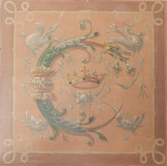 French 19th Century Painting Catherine de Medicis Emblems Decorative Chimera