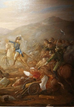 French artist, Battle between turkish and russian, early XIX, oil on canvas