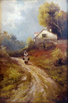 French Barbizon Country Scene, Manner Of Galiany, Rustic Farmhouse interior