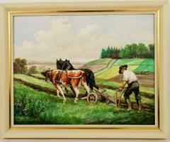 French Bucolic  Scene  Landscape Gouache