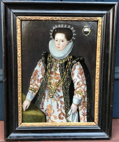 French C16th Oil Painting Marriage Portrait of an Elizabethan Lady